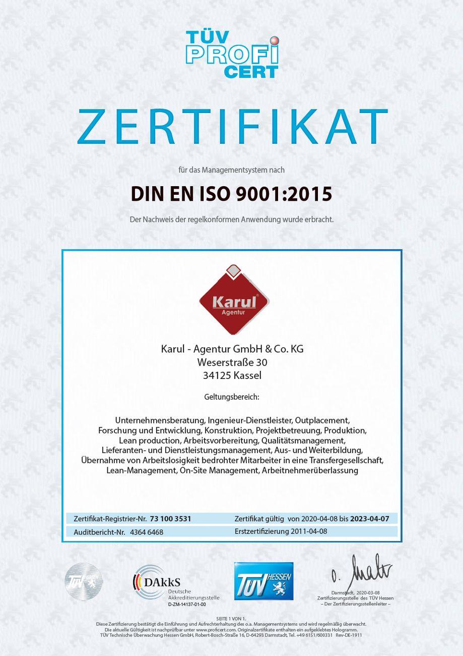 Karul Zertifikat DIN EN ISO 9001 2015
